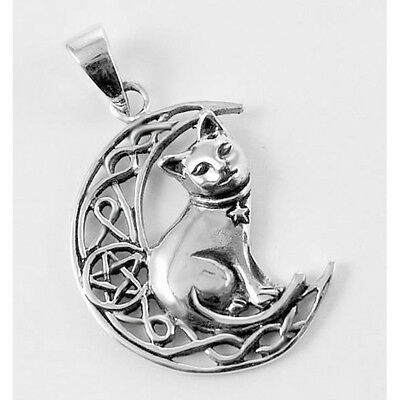 Sterling Silver Cat On Moon Pentacle Pendant