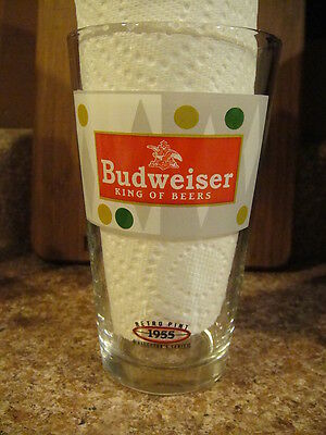 Budweiser Bud Lager 1955 Retro Beer Pint Glass Brewery K