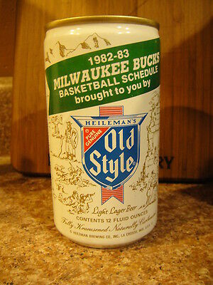 Old Style Milwaukee Bucks 1982-83 Schedule Beer Can Bank NBA Basketball EXC Cond