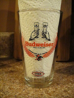 Budweiser Bud Lager 1948 Retro Beer Pint Glass Brewery K