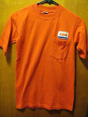 EXXON GAS Station Uniform VINTAGE 1980s T Shirt Small Red Sewn Patch Made in USA
