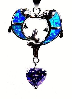Silver 925 SF Pendant Blue Lab Fire Opal  KISSING DOLPHINS 8mm Amethyst HEART