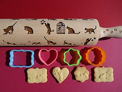 Patterned Rolling Pin With 1 Cookie Cutter Kitten Cat Designs Pastries Kitchen