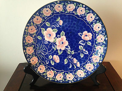 Sun Ceramics Large Charger Pink And Cobalt Blue Made In Japan