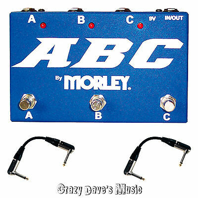 Morley ABC 3 Channel Selector Combiner Pedal Switch New with 2 Free Patch Cables
