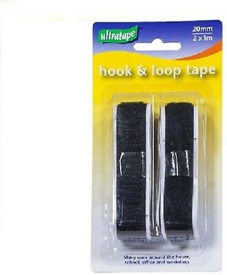 20mm Self-adhesive very similar to Valcro  Hook & Loop Tape Strip 2 x 1M BLACK.*