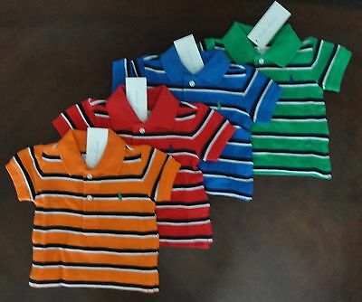 NWT Ralph Lauren Infant Boys S/S Classic Stripe Mesh Polo Shirt 3m 6m 9m NEW $30
