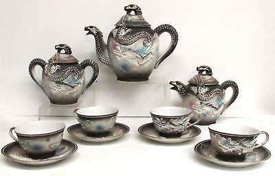 Amazing Dragon Japanese Vintage Porcelain 14 Piece Tea Set