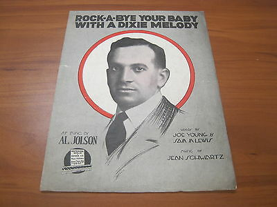 Vintage Sheet Music Rock-a-bye your baby with a dixie melody Al Jolson 1918