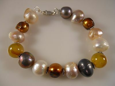 Sterling Silver, 12 MM Multi Freshwater Pearl  And Agate Bracelet