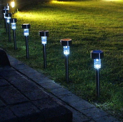 10 X White Light LED Solar Lawn Light Garden Outdoor Landscape Stake Path Lamp U