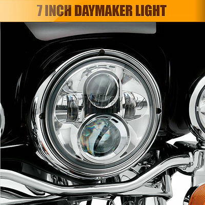 7'' Chrome Projector Daymaker HID Hi/Lo LED Bulb Headlight For Harley Davidson