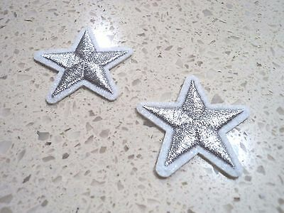 New 2x Bright Silver Stars Embroidered Cloth Patch Applique Badge Iron Sew On