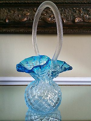 Chalet Glass Rare Blue Sergio Pagnin Basket REDUCED