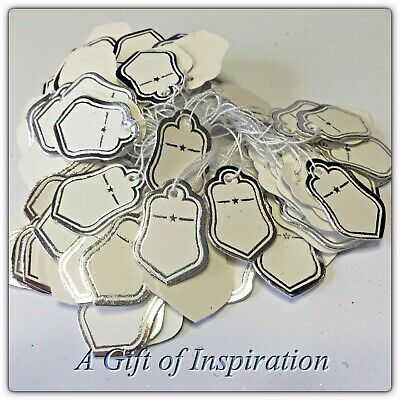 50 paper string swing price tags labels 2cm x 2.5cm white/Silver border,jewelery