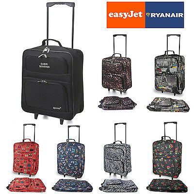 EasyJet RyanAir Pliable Bagage Main A roulettes Voyage Cabine Plier 55 x 40 x20