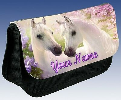 Personalised Girls Ladies White Horse School Pencil Case Small Bag Make Up!!