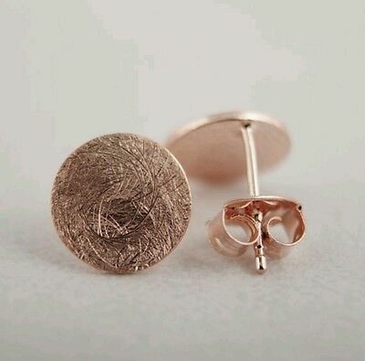 Rose gold small round brushed stud earrings simple minimalist 8mm studs circle