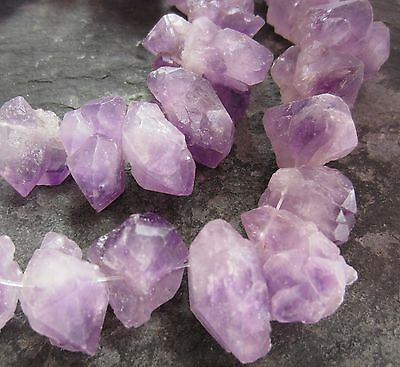 "Amethyst raw rough unpolished 11-25mm graduated nugget beads. 16"" strand SP138"