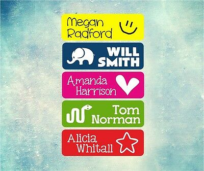 40 x Personalised Name Image Cute Kids Stickers Labels Stick On - School