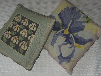 Vintage Wool Needlepoint Embroidered Orchid Cushion Cover X 2