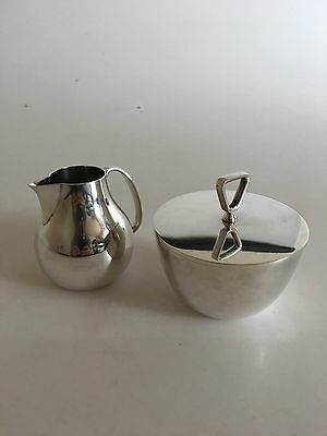 Georg Jensen Sterling Silver Creamer and Sugar Bowl by Sigvard Bernadotte #1015