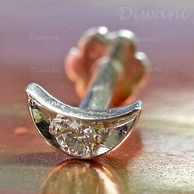 Engagement & Wedding Trend Mark 100% Real Diamonds Butterfly Shape Nose Lip Labret Stud Screw Ring Pin 14k Gold