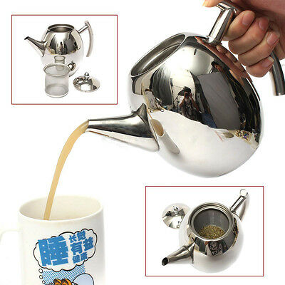 1000mL Stainless Steel Glass Tea Pot TeaPot With Loose Tea Leaf Infuser Strainer