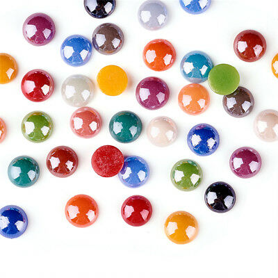 Mixed Color Flatback Glass Cabochons Dome Half Round Pearl Finish Setting Cabs