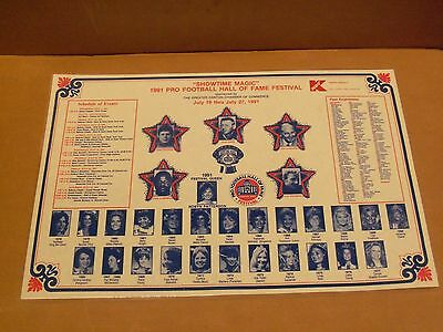 1991 Pro Football Hall of Fame Festival, Paper Placemat, Laminated
