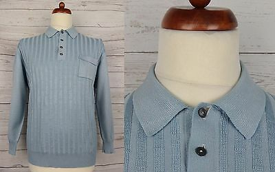 Vtg Blue Bamboo Texture L-Sleeve Polo Shirt Mod Northern Soul -L- CR67