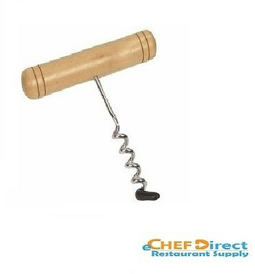 NEW Wooden Handle Corkscrew w/Stainless Steel Coil