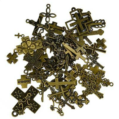 50 x Assorted Lots of Antique Bronze Cross Charms Pendants Jewelry Making