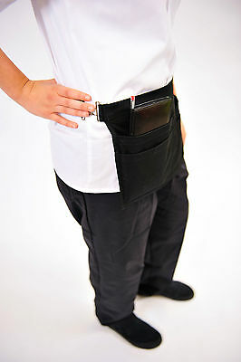Coin Aprons with Metal Buckle Closure Adjustable  Kitchen Server Aprons (BLACK)