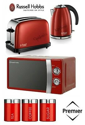 Russell Hobbs Kettle, Toaster & Microwave & Red Tea Coffee Sugar Canisters New