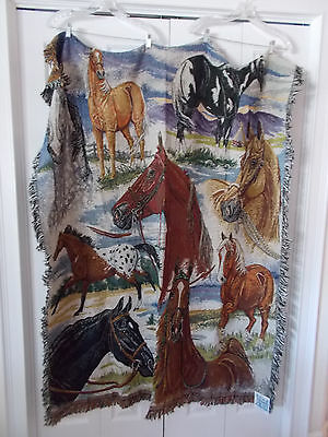 "Fringed Simply Home Horse Throw Blanket 50"" x 66"" Made USA NIP"