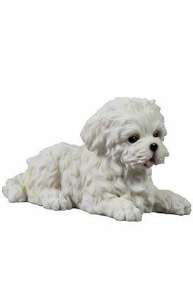 Maltese White Terrier Puppy Dog Animal Figurine # 75404