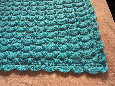 "Gorgeous Blue Crocheted Baby Blanket 34""X42"" With Scalloped Border"