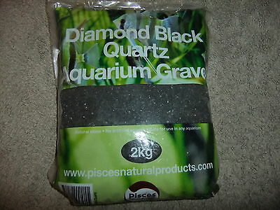 Pisces Diamond Black Quartz Gravel 2kg for Fish Tank Aquarium