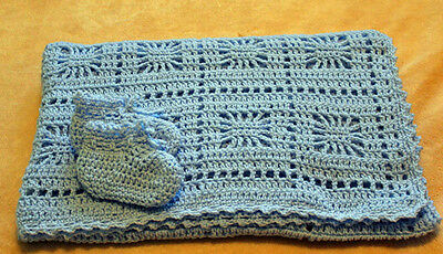 "Beautiful Light Blue Crocheted Baby Blanket 35""X 45"" And Matching Booties"