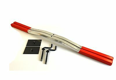 Snowmobile Trailer ski Tie Down Hold Down Bars 1pair Red With Crank And Plate