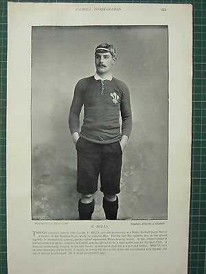 1897 Print Famous Rugby Players ~ F. Mills Cardiff Swansea Team