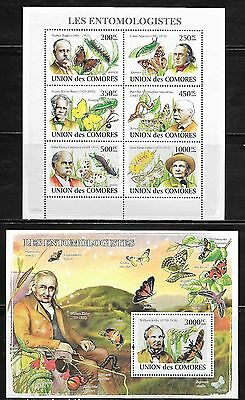 Comoro Islands 1053-54 Entomologists and Butterflies Mint NH