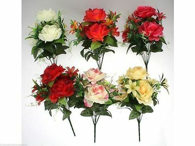 12 x Artificial Rose and Orchid mixed Bush 7 head  Flowers 6asst Wholesale lot