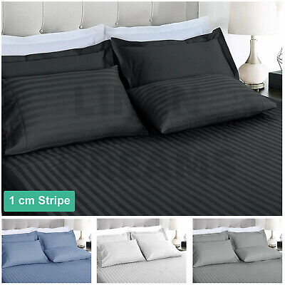 1000TC Striped Microfibre Fitted Flat Sheet Set Duvet Doona Quilt Cover All Size
