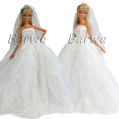 White Wedding Party Gown Clothes Dress + Veil with Crown for Barbie Doll Gifts