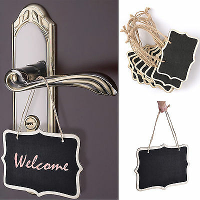 10Pcs Mini Wooden Chalkboard Blackboard Gift Tag Labels Table Number Party Decor
