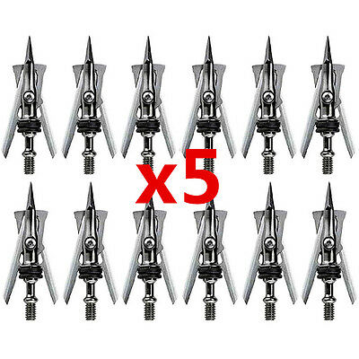 60 Pcs 2'' Cut 100 Grain Hypodermic Silver Target Arrow Tips Points Broadheads