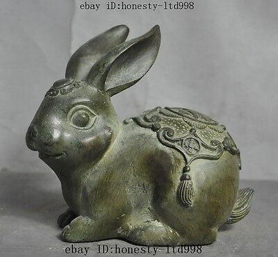 "Lucky Old Chinese Feng Shui Wealth Money Coin Zodiac Animal""福""Rabbits Statue"