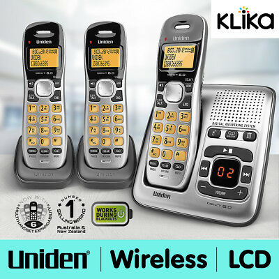 Uniden Dect 1735 + 2 Triple Handsets Cordless Phone Answering Machine Digital